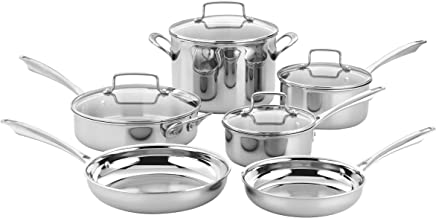 Cuisinart TPS-10 10 Piece Tri-ply Stainless Steel Cookware Set, PC, Silver