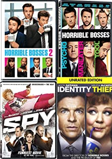 Foolproof Funny Pack Horrible Bosses Double Feature Part 1 & 2 DVD Fun Comedy movie Set Combo Jason Bateman Identity Theft & Spy Edition