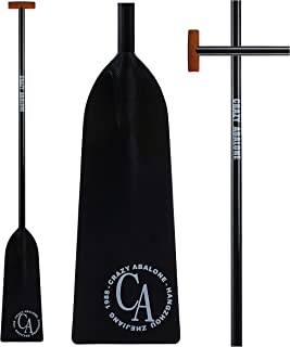 CRAZY ABALONE Sport IDBF Approved Carbon Fiber Dragon Boat,Hybrid Paddle Black with T Handle