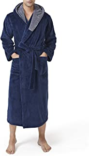 DAVID ARCHY Men's Ultra Soft Coral Fleece Plush Robe Full Length Long and Knee Length Warm Long Sleeve Bathrobe