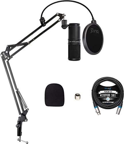 popular Zoom ZDM-1 Dynamic Microphone for Podcasts, Broadcasts, and Music Recording Bundle with Blucoil Boom Arm Plus discount Pop Filter, online sale and 10-FT Balanced XLR Cable online