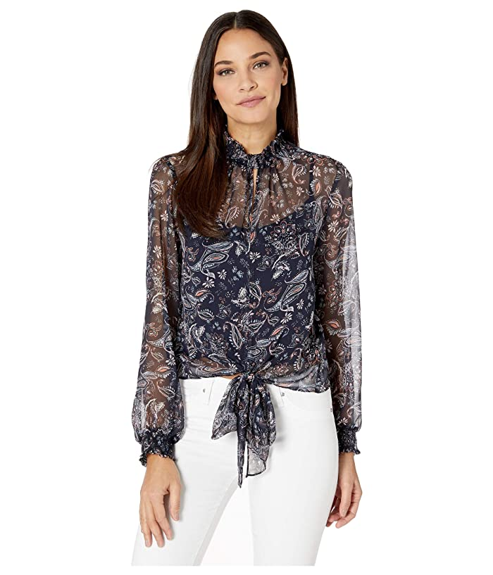 1.STATE  High Neck Lyrical Paisley Tie Front Blouse (Blue Night Multi) Womens Clothing