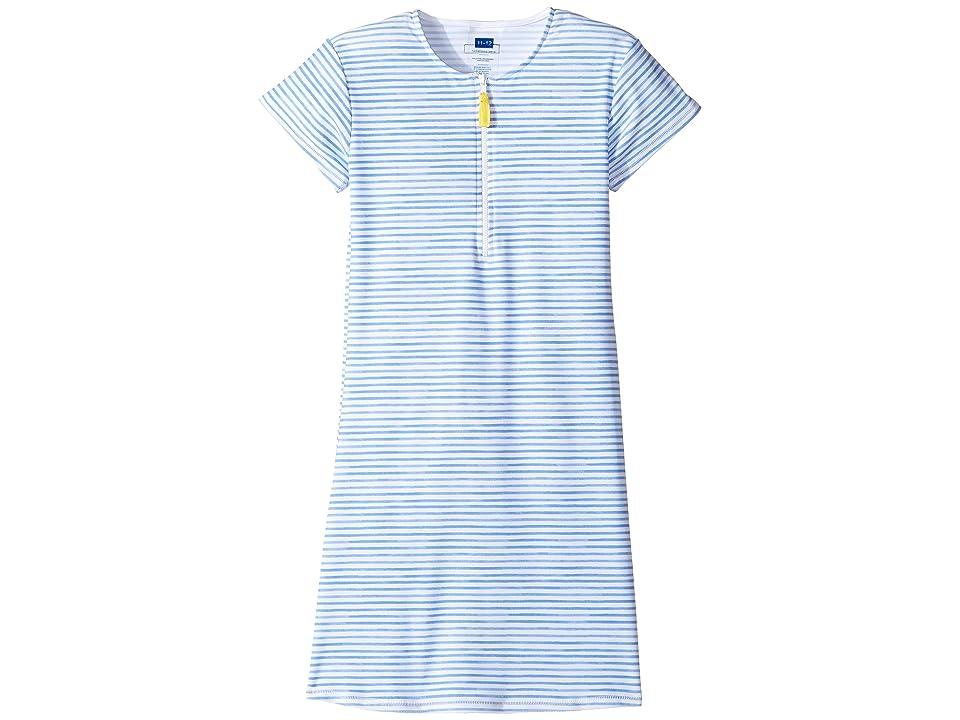 Toobydoo Blue Rashguard Dress (Infant/Toddler/Little Kids/Big Kids) (Blue/White) Girl