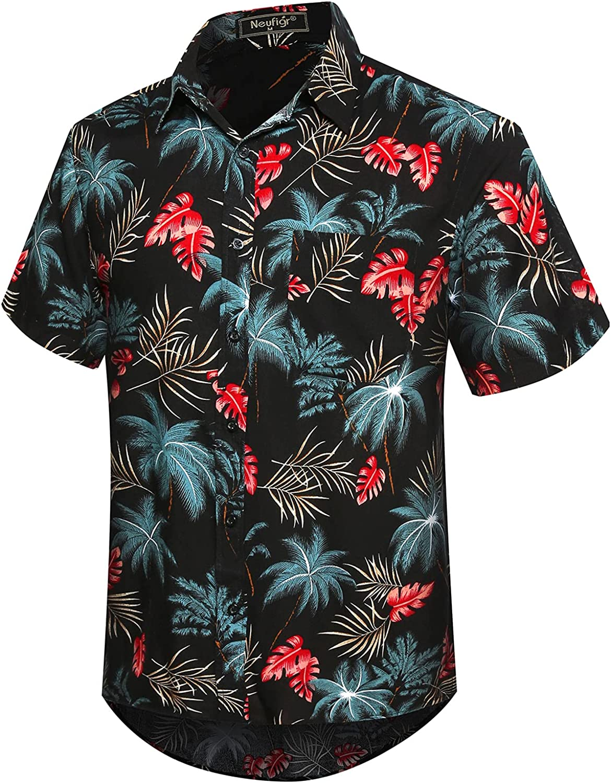 Neufigr Men's Casual Button Down Hawaiian Shirts Short Sleeve Floral Printed Beach Shirts