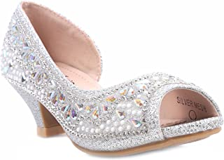 Bella Marie Truly-8 Fashion Rhinestones Kids Peep Toe Slip On Girls Kitten Heels Sandals Dress Shoes