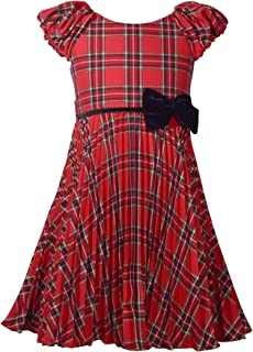 Red Plaid Christmas Dress with Pleated Skirt and Velvet Bow