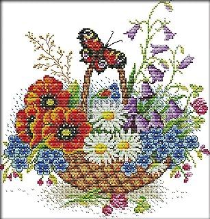Vorgedruckte Leinwand Stickset Stickbilder Kreuzstich Vorgedruckt Rote Blumen 40X50Cm Neujahrs Home Decor Kreativit/ät Geschenke 11Ct