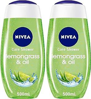 NIVEA Lemongrass & Oil Shower Gel, Caring Oil Pearls, Lemongrass Scent, 2 x 500 ml