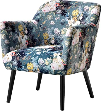 OVIOS Accent Chairs for Living Room,Floral Print Armchair for Bedroom,Tufted Clud Chair,Mordern Comfy Side Chair with Metal Leg. (Green-Yellow)