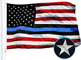 Best G128 - Blue Lives Matter American USA Police Flag Embroidered Stars Sewn Stripes 3X5 FT Brass Grommets - Honoring Men Women Law Enforcement Officers Red Black White Blue Review