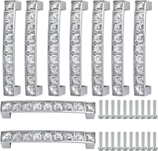Square Clear Glass Grind Crystal Furniture Door Drawer Pull Handle Cabinet Pull Handle Kitchen Knobs (96mm-10Pcs, Silver)