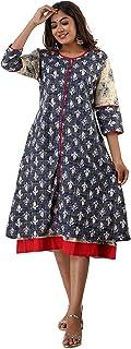 Adorro Cotton Indigo Print A-Line Double Layered Kurti for Women and Girls (4XL)