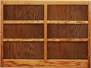 Concepts in Wood MI4836 6 Shelf Double Wide Wood Bookcase, 36 inch Tal (Oak)