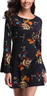 Miss Moly Women's Floral Print Bell Sleeves Round Neck Mini Party Evening Cocktail Dress