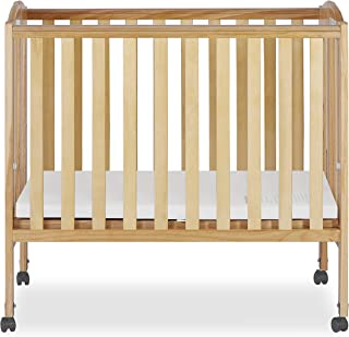Dream On Me 2 in 1 Portable Folding Stationary Side Crib, Natural