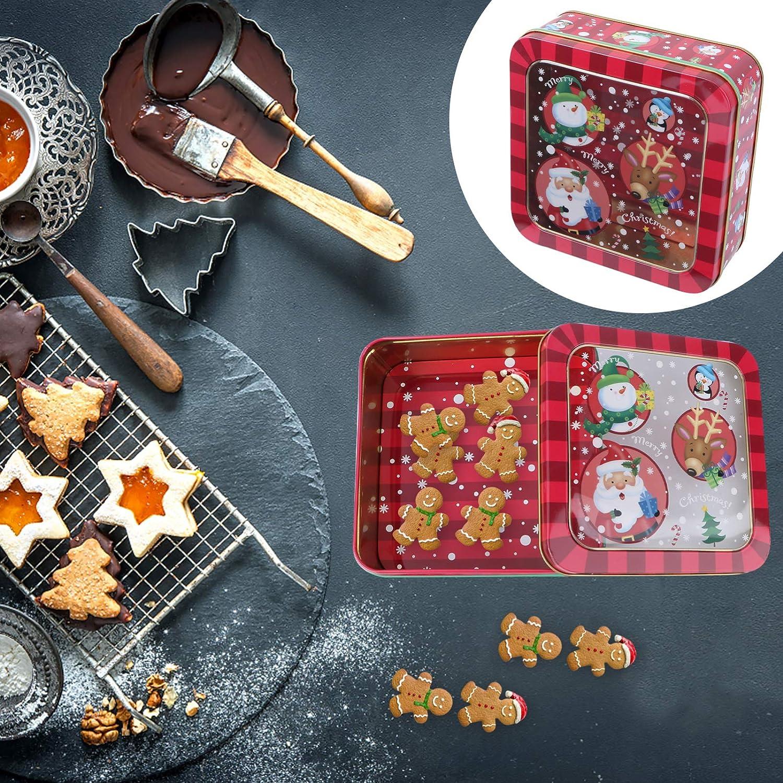 VALICLUD Keksdose Pl/ätzchendose Weihnachtsdose Metalldosen Geschenkdosen mit Fenster und Deckel eckige Weihnachten Motiv Eisendose f/ür Kekse Kuchen und S/ü/ßigkeiten 15 cm
