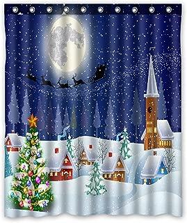 GCKG Merry Christmas Winter Snow Landscape Christmas Tree Moon Santa Claus Sleigh Waterproof Bathroom Shower Curtain 60x72 inch