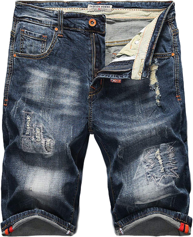 Huntrly Men's Denim Shorts Summer Slim Straight Cotton Elastic Washed Casual Denim 36