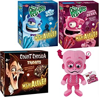 Berry Monster Franken Morning Crunch! Plush Figure Bundled with Fruit Roll Boo-Berry & FrankenBerry + Count Chocula Chocolate Cereal Bar Marshmallows Character Breakfast Retro Fun Pack 4 Items
