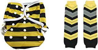 BB2 Baby One Size Snaps Cloth Diaper Cover for Prefolds + Chevron Leg Warmer