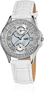 Burgi Women's BUR044WT Diamond & Crystal Accented Mother-of-Pearl Stainless Steel White Leather Strap Watch