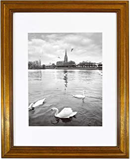 Golden State Art, 11x14 Photo Frame with White Mat for 8x10 Pictures & Real Glass, 1.25-Inch Wide, Dark Gold