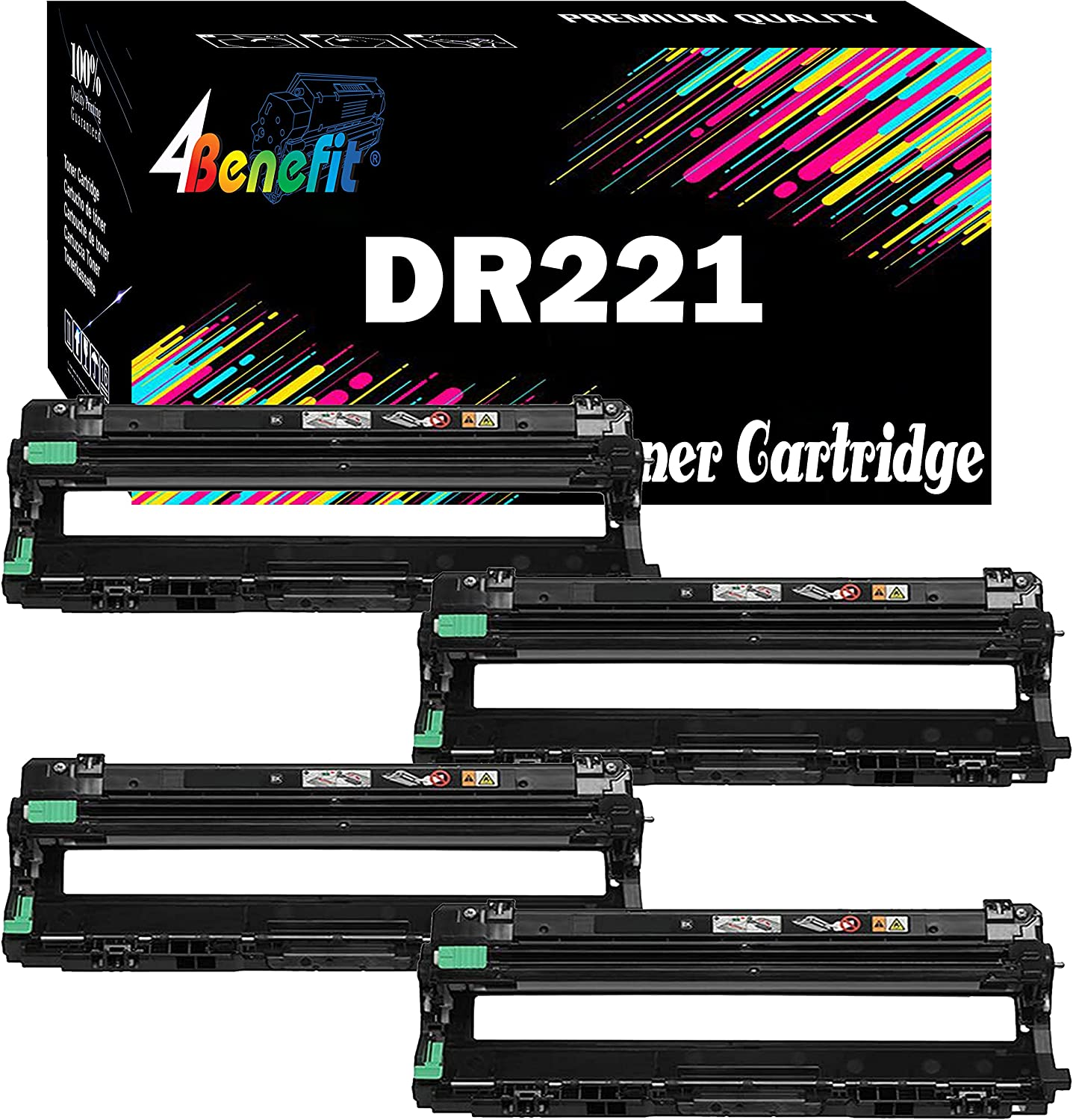 (4xDrum) 4Benefit Compatible DR221CL Drum DR221 DR 221 4 Pack Used for TN221/TN225 4 Colors for HL-3140CW HL-3150CDN MFC-9130CW MFC-9340CDW Printer