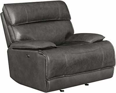 Benjara Claasic Leather Upholstered Wooden Power Gilding Recliner, Gray
