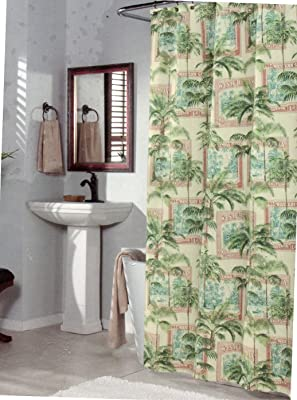 Amazon Com M Style Biscayne Bay Tropical Fabric Shower Curtain Home Kitchen