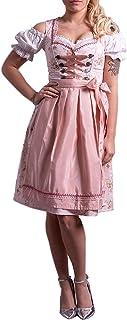 Golden Trachten-Kleid Dirndl Damen 3 TLG, Midi für Oktoberfest, mit Schürze und Bluse Rose feingeblümt 538GT