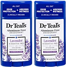 Dr Teal's Aluminum Free Deodorant - Lavender - Paraben & Phthalate Free - 2.65 oz Pack of 2