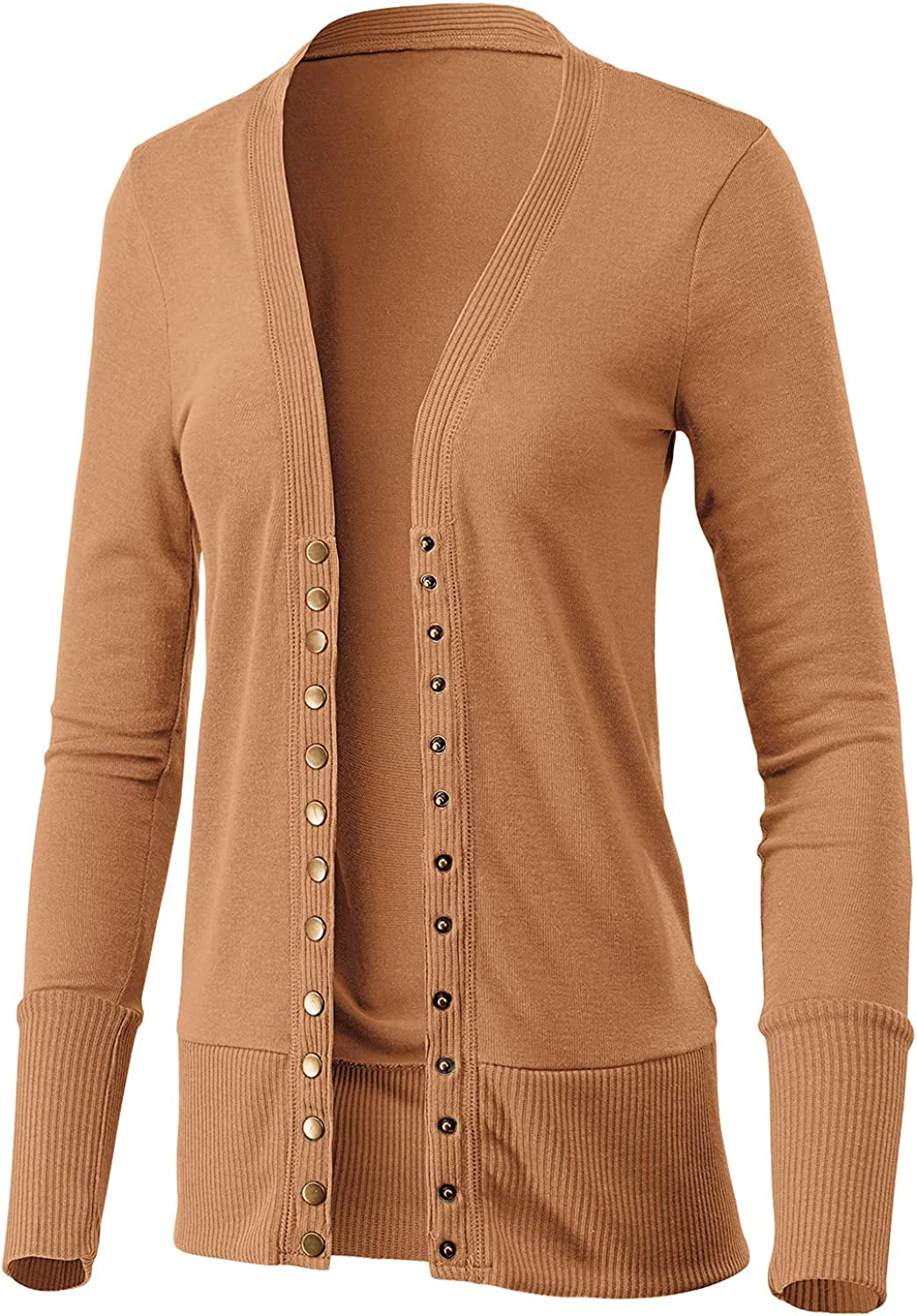 Women's Long Sleeve Snap Button Down Solid Color Knit Ribbed Neckline Casual Cardigan Sweater