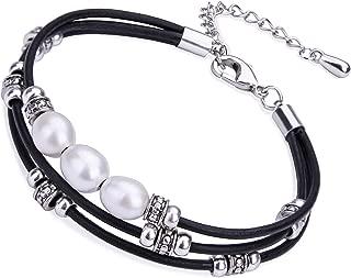 Cultured Freshwater Pearl Bracelet White Beads on Multi-Strand Black Genuine Leather Cord Bangle DIY Charm Wrap Bracelet Handmade Beaded Jewelry for Women