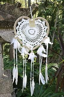 Boho Breeze: Dream Catcher Boho Style/Heart Shape/Wedding/Handmade Bohemian Decor Item/Crochet Hippie Gypsy Model/Baby Shower/Valentine/Wall Hanging Decoration/Bedroom Ornament