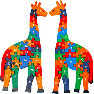 TOWO Wooden Giraffe Alphabet Blocks and Number Blocks Jigsaw Puzzle 41 cm Large Size - Wooden Letter Blocks Puzzle Number Puzzles Educational Toys for 3 Year olds