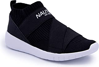 Nautica Women Vivien Fashion Slip-On Sneaker Comfort Running Shoes with High Sock and Thick Heel