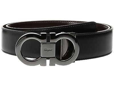 Salvatore Ferragamo Double Gancini Adjustable and Reversible Belt 679535 (Black/Auburn) Men