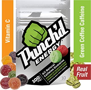 10-Pack Punch'd Energy Natural Caffeine Gummies (100 Count) Real Fruit Energy Chews Powered by Premium Strong Arabica Green Coffee Beans, Vitamin C, Low Glycemic, Clean Caffeine #getpunchd Go You!