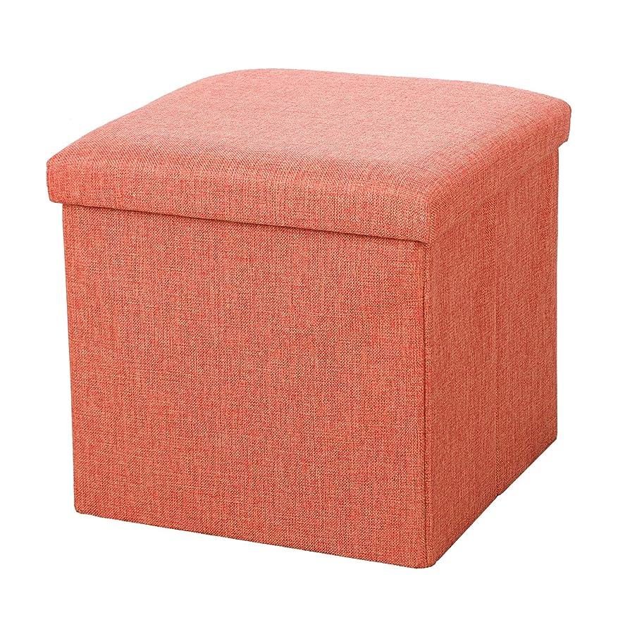 研磨剤きょうだいアークTENCMG折りたたみ式フットスツールボックス - 取り外し可能なふた付き収納キューブ - 省スペース荷重150 kg,Pink,38x38x38cm