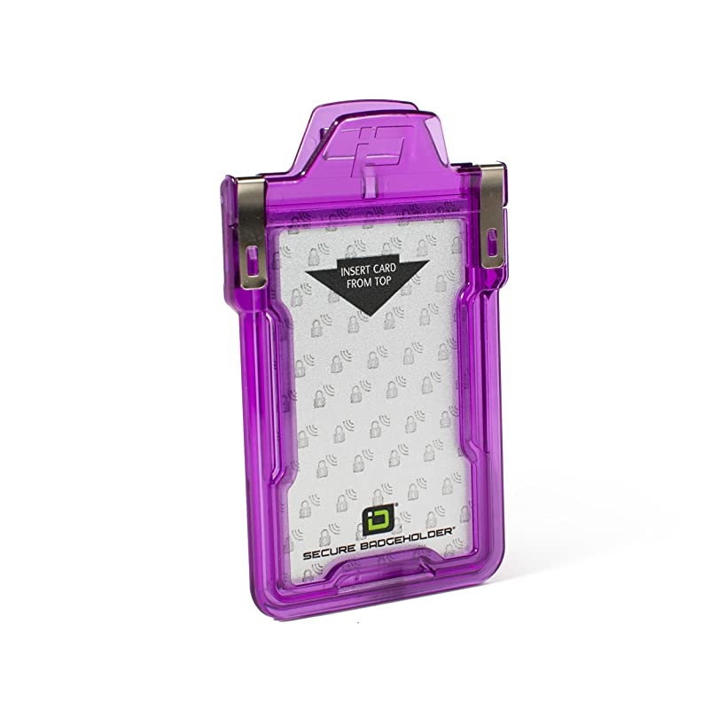 Identity Stronghold - Secure RFID Badge Holder for 1 Card - Heavy Duty Hard Plastic ID Badge Holder - FIPS 201 Approved RFID Blocking Security - Molded and Assembled in The USA - Purple