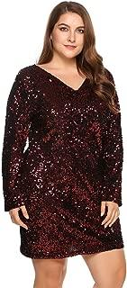 Zeagoo Women's Plus Size Glitter Bodycon Sequin Cocktail Party Club Evening Mini Dress(16~24W)