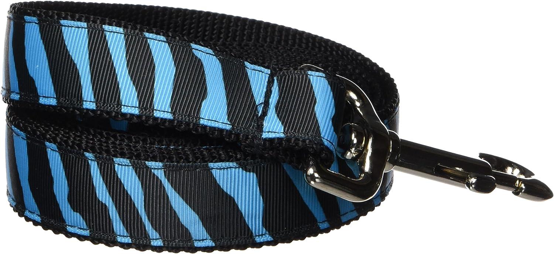 Sassy Dog Wear 6Feet Turquoise Black Zebra Dog Leash, Large