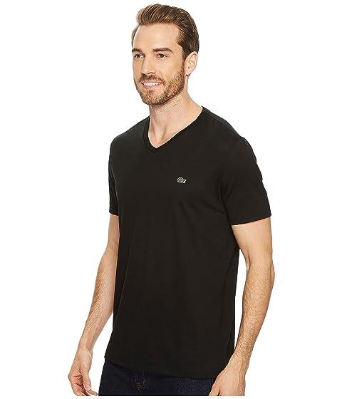 corta en negra Lacoste Jersey manga cuello con de V camiseta Pima qqYaftH