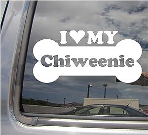 I Heart Love My Chiweenie - Dog Bone Chihuahua Dachshund Designer Mixed Hybrid Breed Cars Trucks Moped Helmet Surfboard Auto Automotive Craft Laptop Vinyl Decal Store Window Wall Sticker 13315