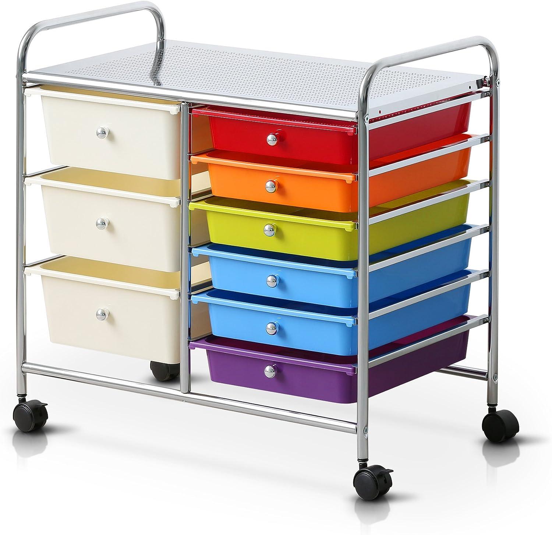 Furinno WS17093 Wayar 9-Drawer Trolley, Rainbow