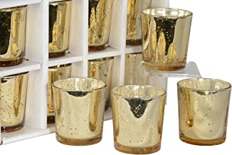 Set of 12 Glass Votive Candle Holders in Gold Mercury Glass Look Finish