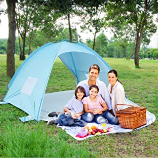 ALPIKA Beach Tent Sun Shelter 3-4 Person UV Sun Protection of UPF 50+ & Waterproof Camping Tent Easy Set Up Tent for Outdoor