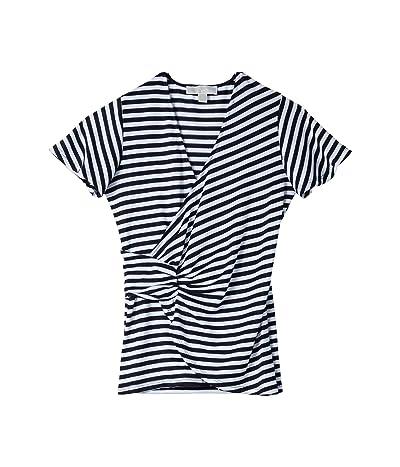 MICHAEL Michael Kors Stripe Twist Flutter Top (White) Women