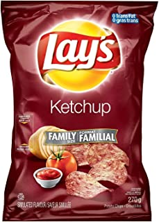 Canadian Lays Ketchup Flavour Chips [1 Large Family Size Bag] by Lay's