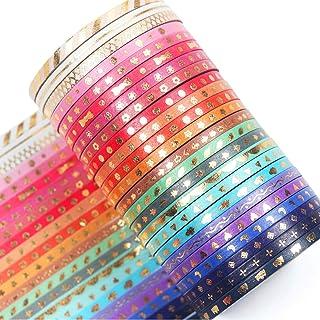 YUBX Maigre Or Washi Tape Set 24 Rouleaux Masking Tape Ruban adhesif decoratif pour Scrapbooking Artisanat de Bricolage 3M...